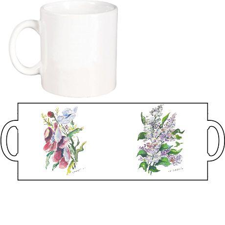 Kubek z bzami i kwiatami polnymi. Kawa, poranek, prezent, mama