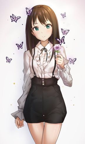 Anime Girl with butterflies