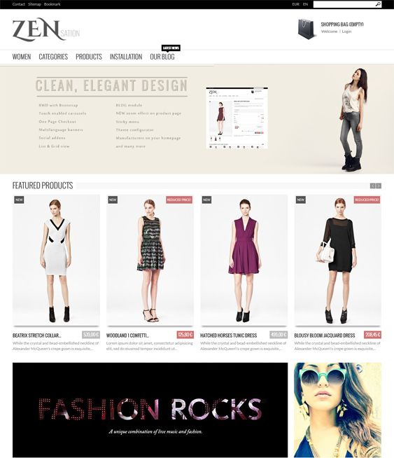 This minimal PrestaShop theme comes with one page checkout, a responsive layout, Bootstrap integration, a sticky menu, social media icons, a blog module, Revolution Slider, multiple carousels, zoom effects, and more.