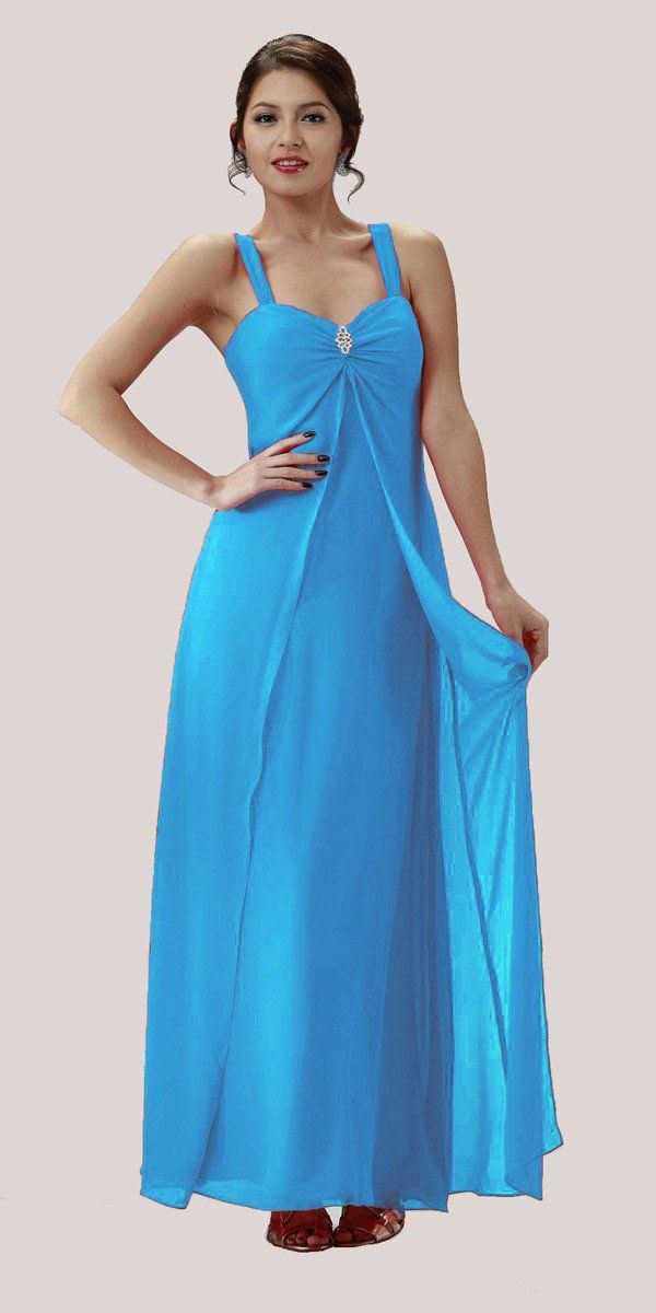 Navy Blue Semi Formal Dress Long Chiffon Overlay Wide Straps