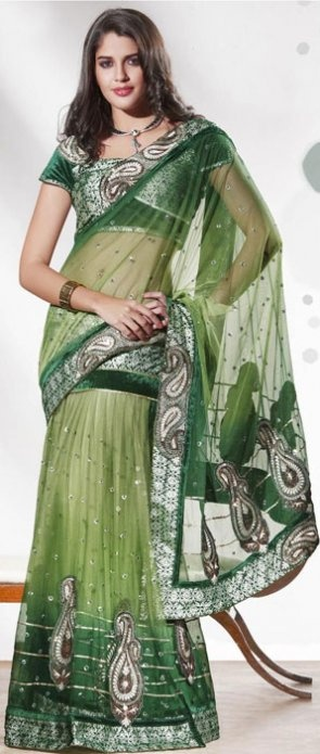 Excellent net lehenga style saree with blouse. Work - Sequins, Patch Work and Resham. Color - Green