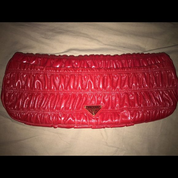 Prada Clutch Authentic Red Leather Clutch. Used Once, Brand New! Prada Bags Clutches & Wristlets