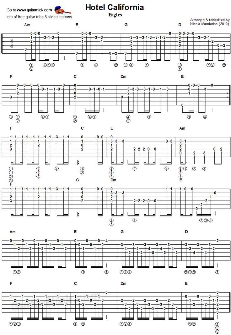 Hotel California - guitar chords tablature