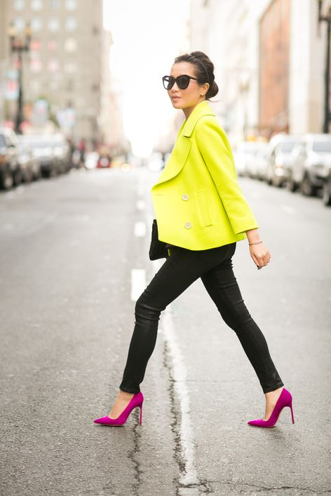 Winter Neon :: Wool peacoat & Magenta pumps : Wendy's Lookbook