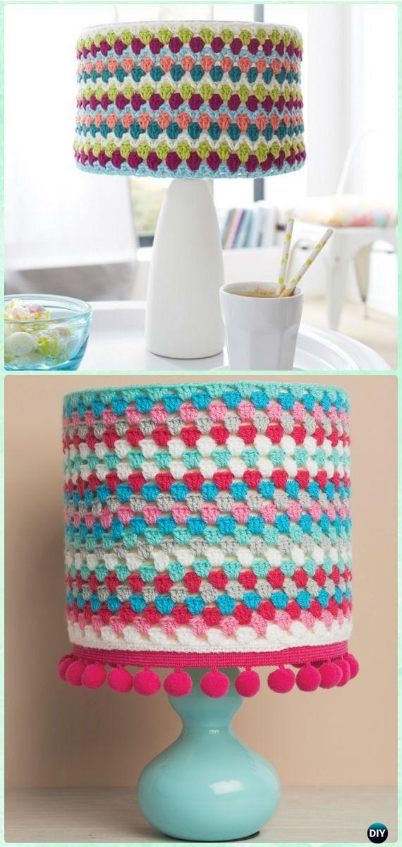 Crochet Granny Stripe Lampshade Free Pattern - Crochet Lamp Shade Free Patterns