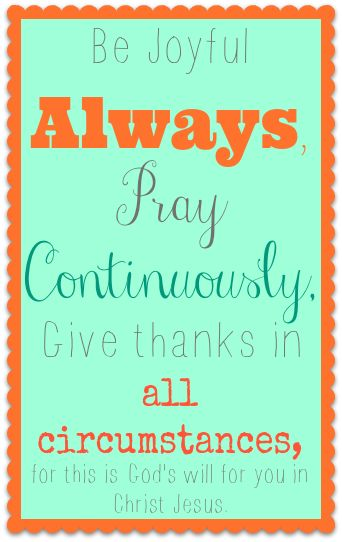 What is God's Will for Me Series: Be Joyful Always, Pray Continually, Give Thanks in all Circumstances for this is God's will for you in Christ Jesus.