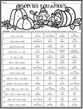 Solving Equations Coloring Activity 3 Differentiated Levels Math