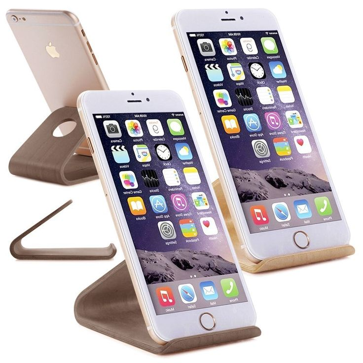 """Wood Desk Holder Table Stand for iPhone 6 plus 4.7"""" 5.5"""" 5S Samsung HTC LG iPad 
