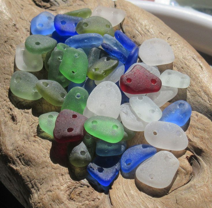 Sea Glass Beads, Rare Mix Surf Tumbled Smooth, 50pc Medium Double Drilled Jewelry Making Beads (DDBLK-M-02) by KreationsfromKaos on Etsy