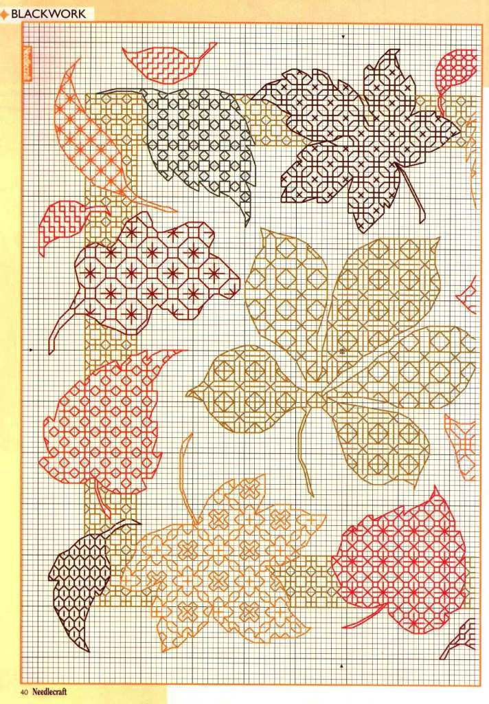 Embroidery Scheme, Fall Leaves