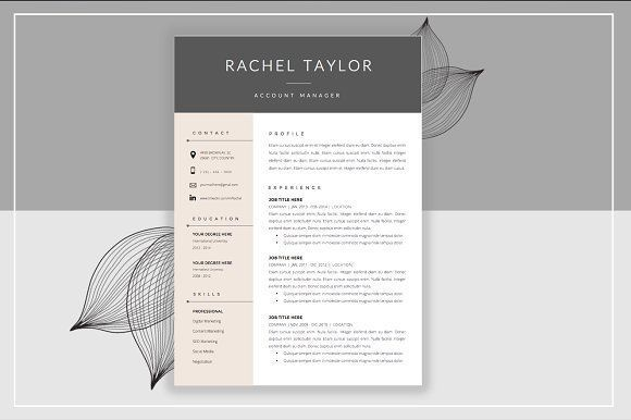 Resume Template & Cover Letter by ResumeStudio on @creativemarket Ready for Print Resume template examples creative design and great covers, perfect in modern and stylish corporate business. Modern, simple, clean, minimal and feminine layout inspiration to grab some ideas.
