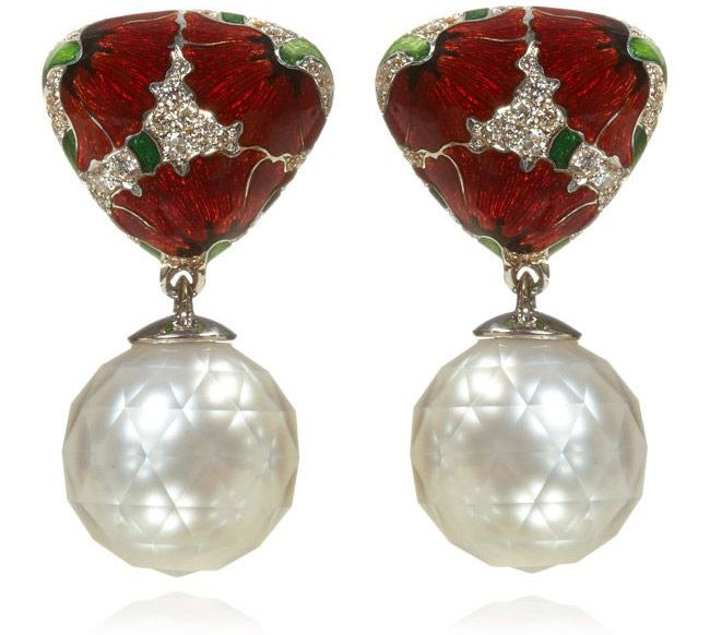 Ilgiz F Poppy earrings with enamel, faceted pearls and diamonds