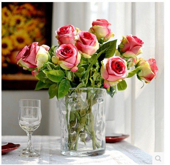 Pas cher ( 10 pcs/lote ) mode haute qualité européenne simulation rose fleur rose artificielle fleurs faux soie rose fleur, Acheter  Fleurs décoratives et couronnes de qualité directement des fournisseurs de Chine:       (10 pcs/lote) à la mode de haute qualité européen Simulation Rose fleur artificielle rose fleurs faux soie rose f