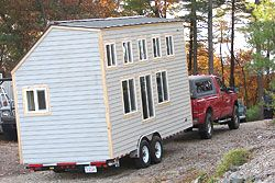 Tiny House Trailer Hooked To a Truck