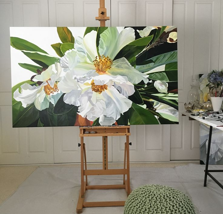 'One Fine Day' the Gordonia Tree captured in Autumn sun 150 x 90 cm Jenny Fusca Paintings