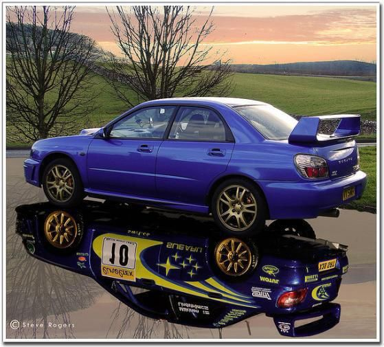 That's how a rally hero looks with and without its suit.  Subaru Impreza WRX. Some legends never die!