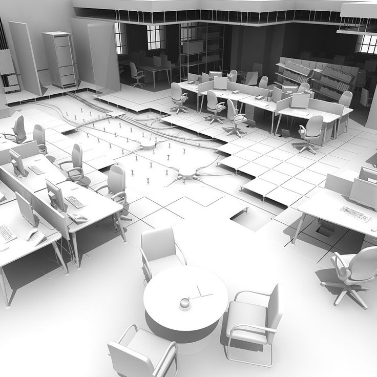 3D Office Raised Floor Model 3D Model Flooring, House