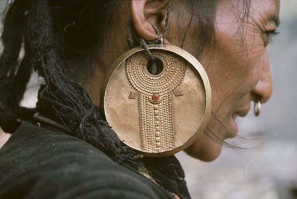 Details of the earring worn traditionally by the Tamang women | Himalayan regions of Tibet, Nepal and India ViaFlotsam TidePinterest