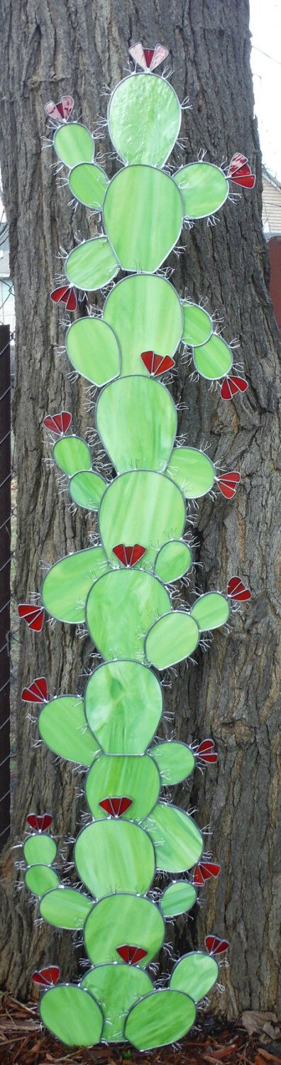 Six Foot Tall Cactus Sculpture in Stained Glass, Made to Order Deposit Required, Please Read Entire Listing by PlateFlowersPlus on Etsy https://www.etsy.com/au/listing/269011429/six-foot-tall-cactus-sculpture-in