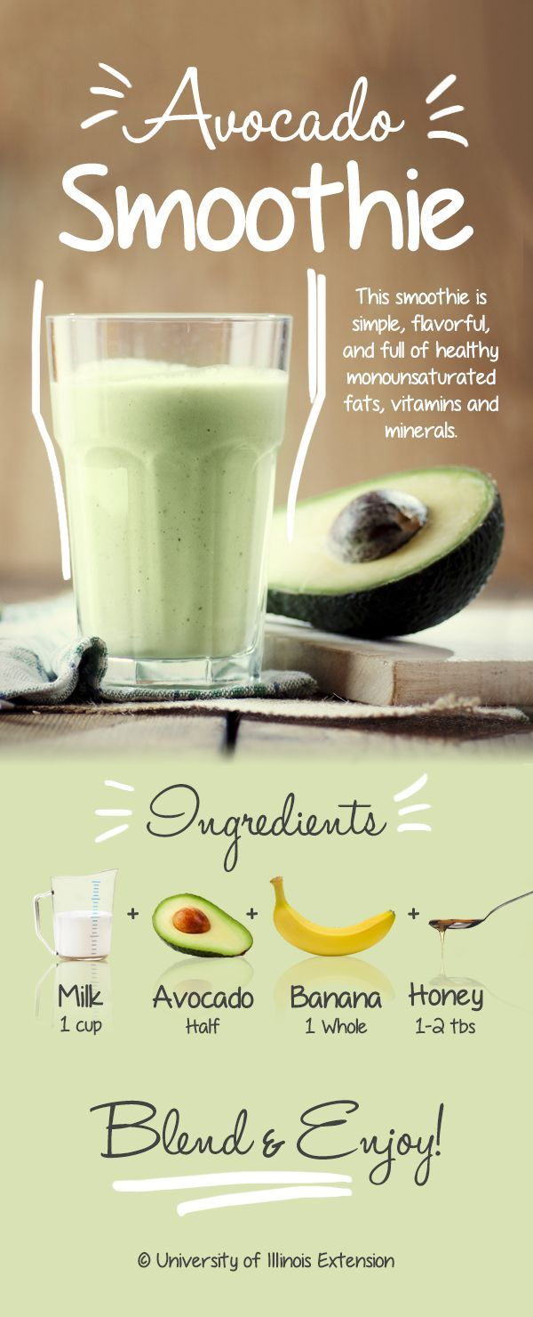 Avocado Smoothie Recipe - Simple, flavorful, and full of healthy monounsaturated fats, vitamins and minerals! #health #diet #nutrition