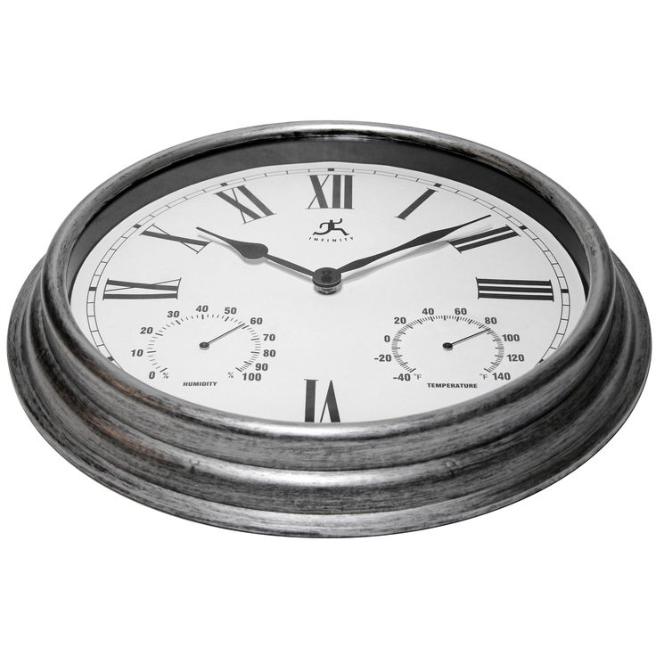 """Infinity Instruments Silo 16"""" Indoor/Outdoor Wall Clock with Thermometer and Hygrometer"""