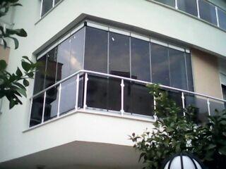 Kemer Cam Balkon Cam Çatı Cam Ofis Bölme Motorlu Panjur kepenk Otomatik Bina Kapısı Balkon Korkuluk