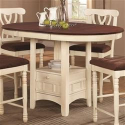 Cameron 5 Pc Cottage Counter Height Round Pedestal Table Set in Buttermilk & Dark Cherry Finish by Coaster - 102238