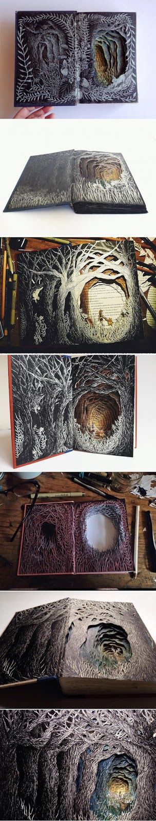 Seattle based illustrator Isobelle Ouzman  breathes new life into discarded books by turning them into scul...