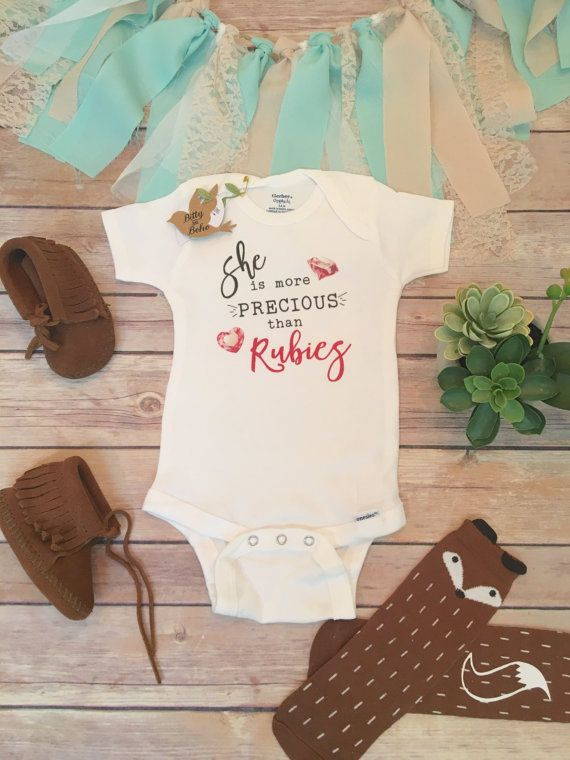 She is More Precious Than Rubies Onesie®, Baby Shower Gift, Baby Girl Clothes, Baby Girl Gift, GIrl Onesies. Religious Baby, Trendy Baby