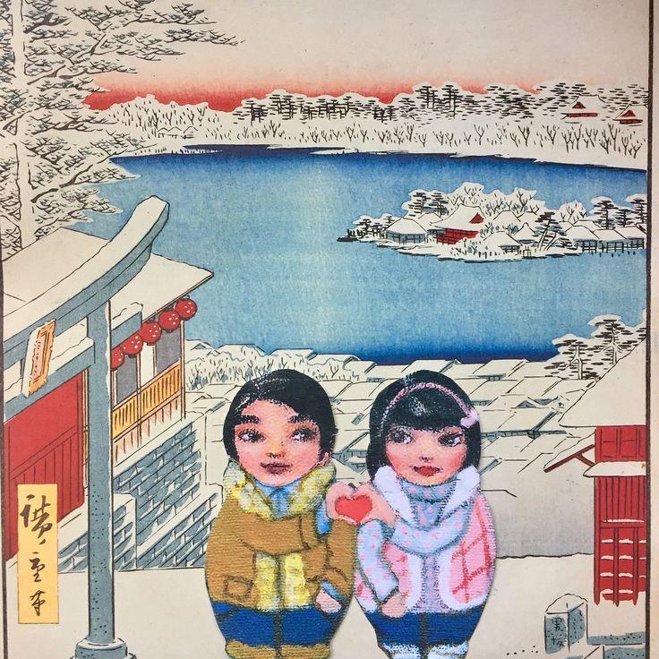 "JOYJOart+design on Twitter: ""Mei&Kenji step inside Hiroshige print for #xmas #japan #artprint https://t.co/m8sCj6KsDA"""