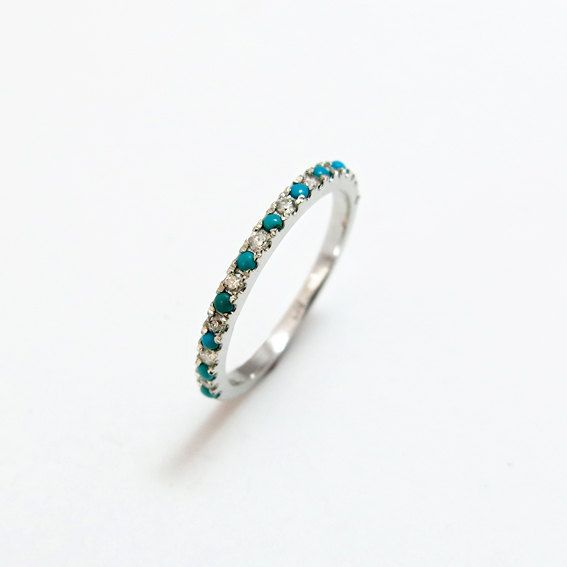 Diamond and Turquoise Wedding Ring Classic by JonJonJewel on Etsy
