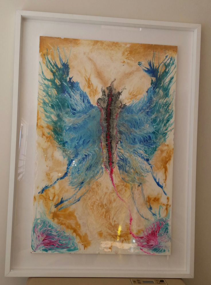 Butterfly Angel - 109 x 79 Framed.  Acrylic & clear Epoxy Resin - SOLD