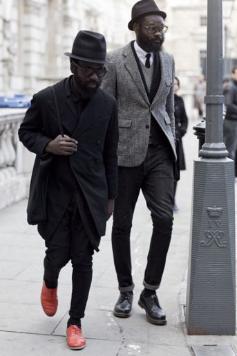 Sam Lambert & Shaka Maidoh. Lovely Style. Black and Red. Suits. Perfection. True fashion.