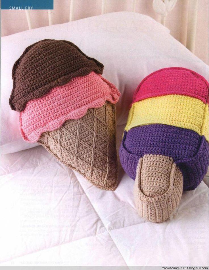 El mundo del crochet.: Cojines helados con patrón. // Ice cream pattern