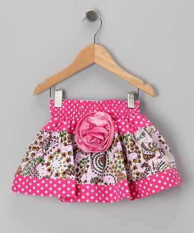 Take a look at this Pink Polka Dot Paisley Skirt - Toddler & Girls by Lele Vintage on #zulily today!