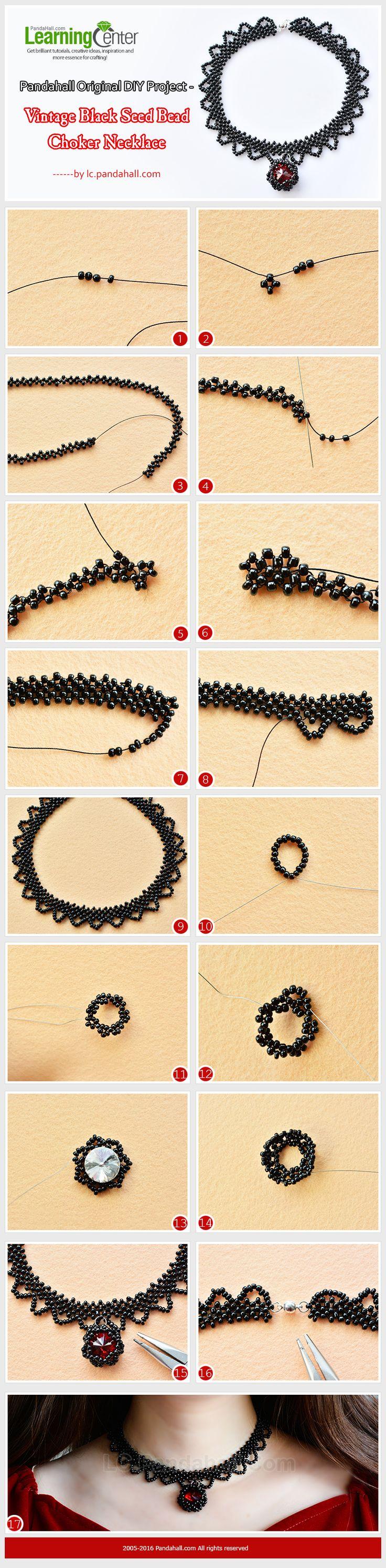 Original DIY Project - Vintage Black Seed Bead Choker Necklace from LC.Pandahall.com  #pandahall