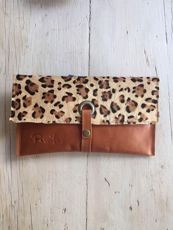 Leopard printed clutch caramel leather clutch leopard door Percibal