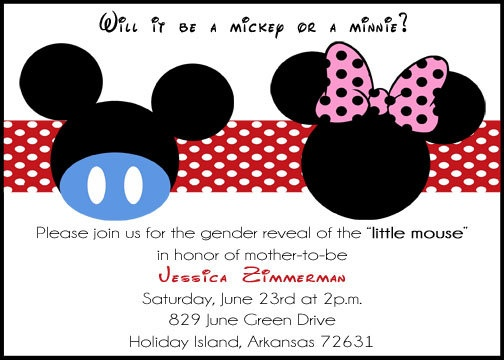 Printable Mickey Mouse Or Minnie Mouse Gender Reveal
