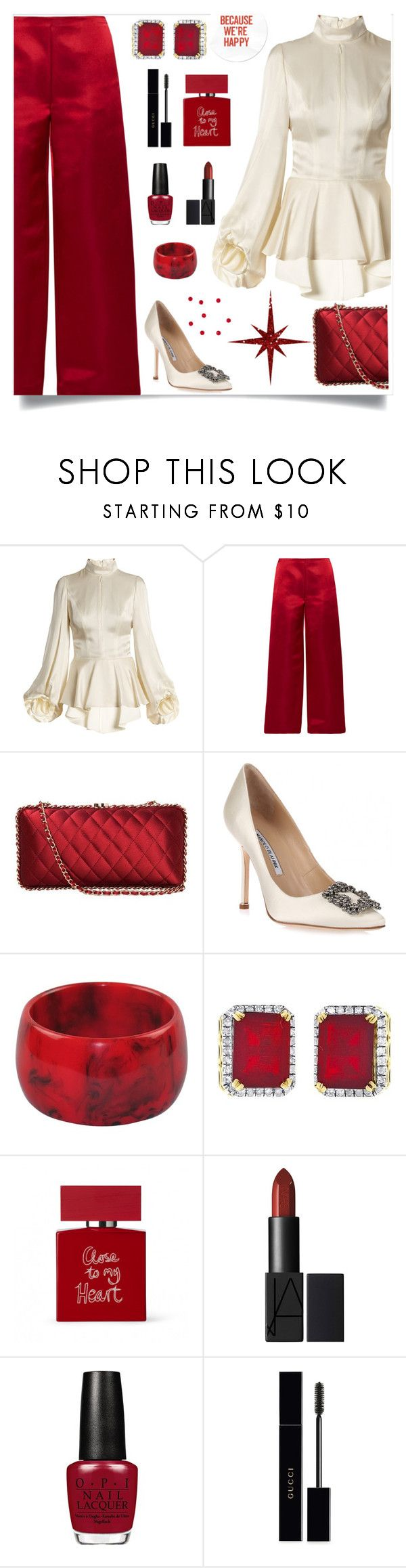 """""""Satin Dreams"""" by cindy-for-fashion ❤ liked on Polyvore featuring Andrew Gn, The Row, Chanel, Manolo Blahnik, Bella Freud and Gucci"""