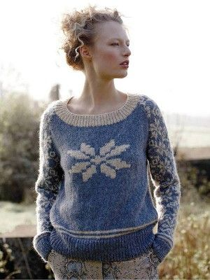 Free snowflake Christmas sweater knitting pattern: download it at Laughing Hens