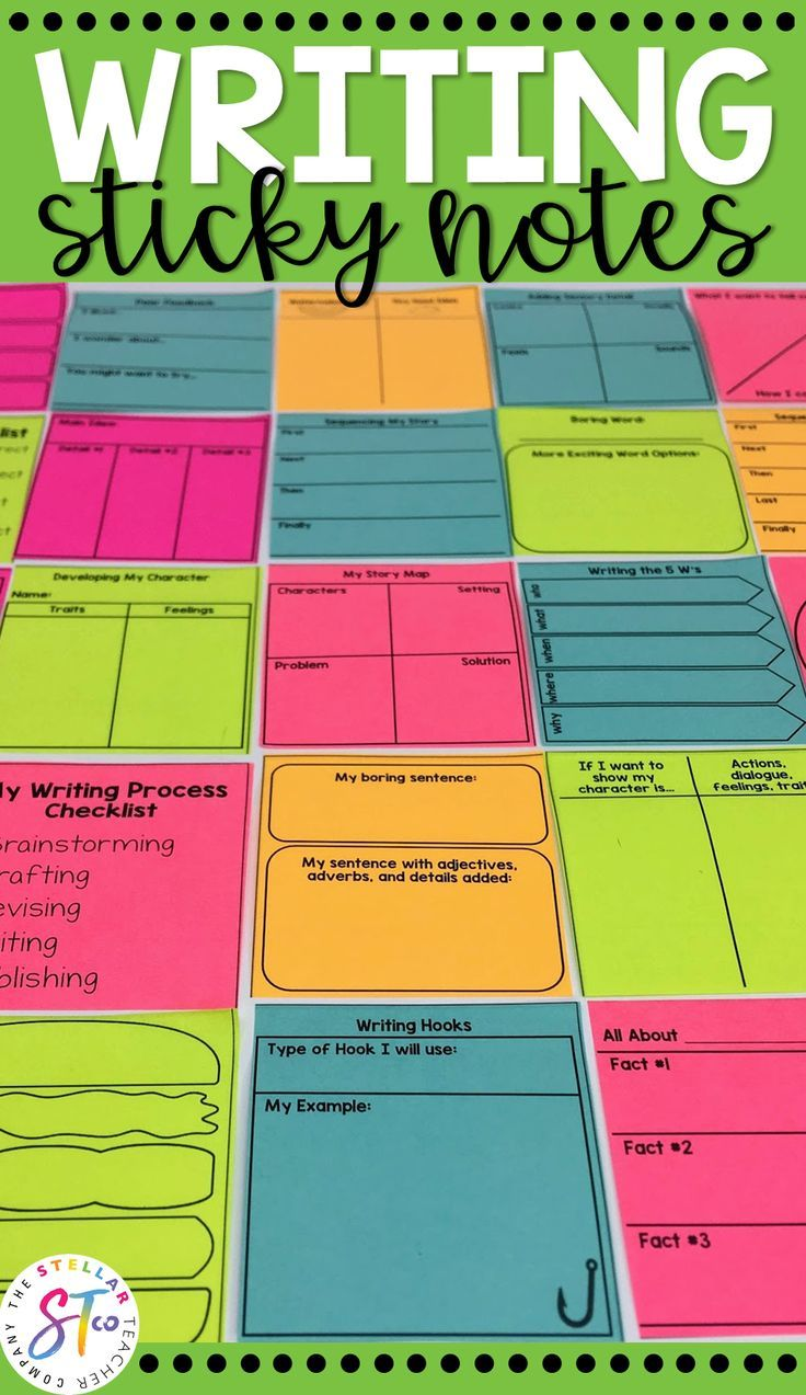 Writing Graphic Organizer Sticky Notes Teaching Writing First