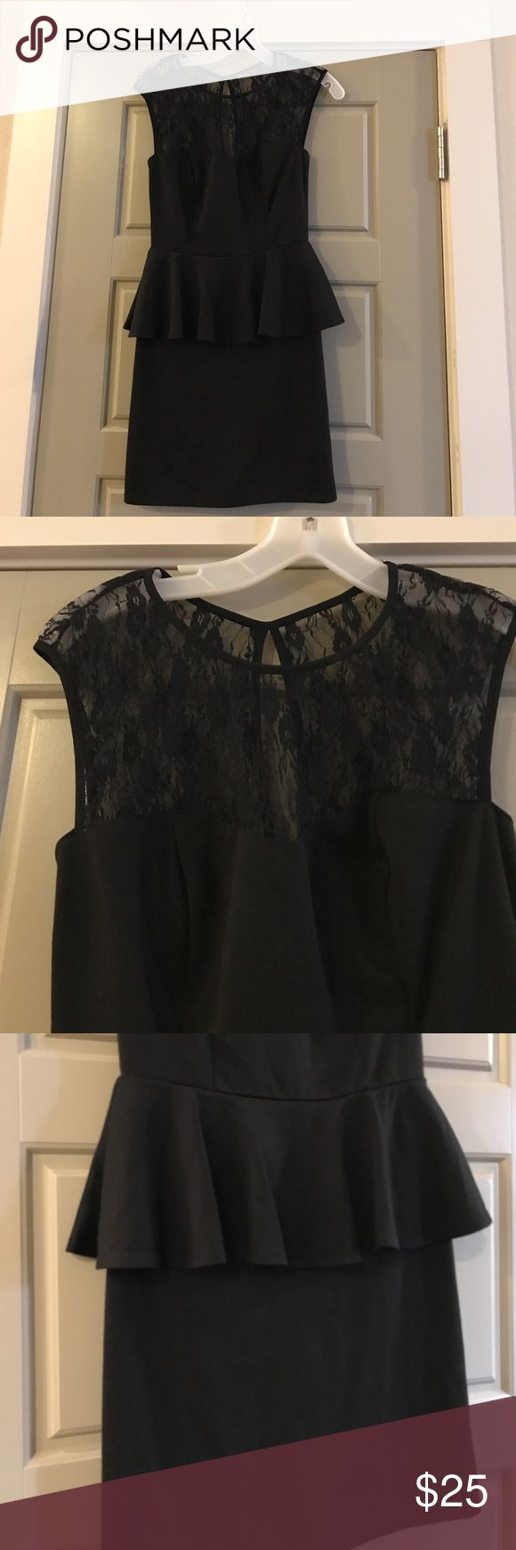 EUC Black peplum dress w/ lace over shoulders EUC Black peplum dress with delicate lace over the shoulders. Dress it up or down for any fiction you are attending. Looks killer with heels! Very simple LBD. Speechless Dresses