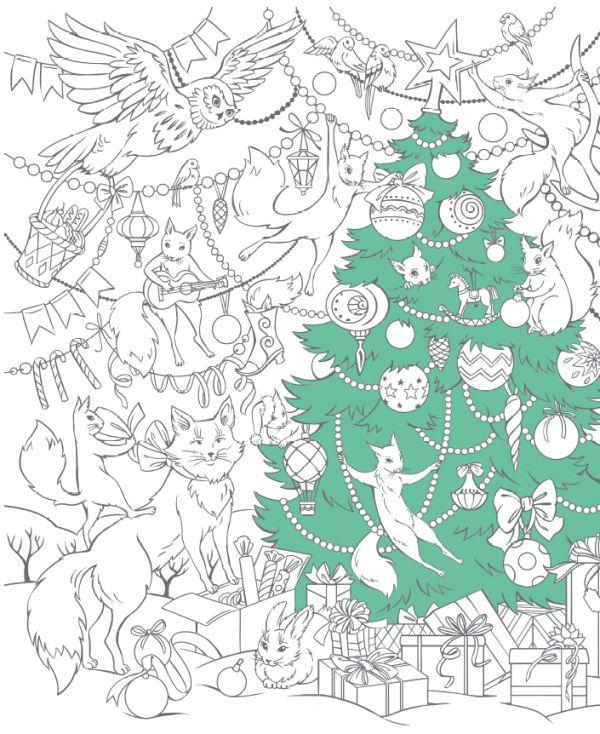 Ёлка, белки и совы из раскраски-плаката «С Новым годом!»