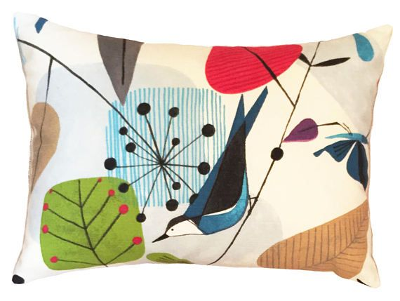 Scandinavian Pillow   Mid Century Pillow  Bird Pillow