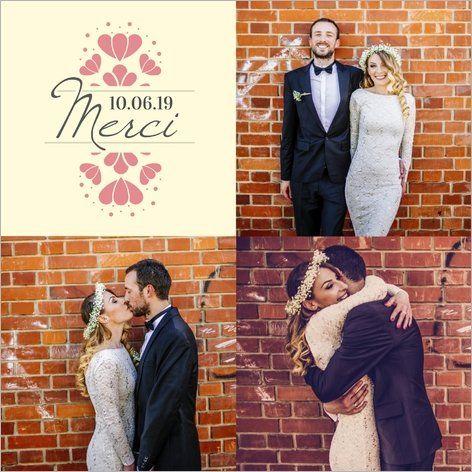 Carte de remerciements mariage Motifs fleuris à personnaliser. Disponible en 4 formats sur http://www.popcarte.com/catalogue/remerciement-mariage.html