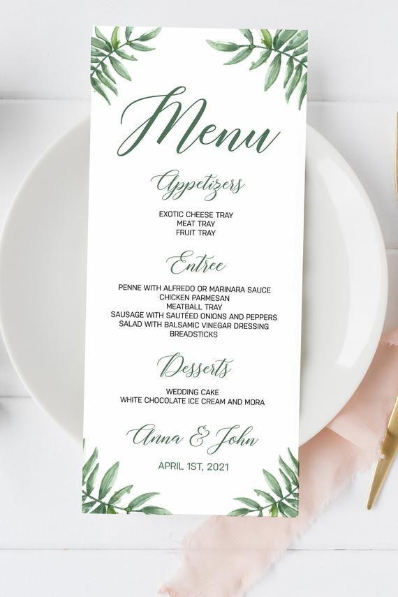 Wedding Menu Cards Greenery Wedding Menu Elegant Wedding Menu Rustic Wedding Summer Wedding Printed Menus Wedding Bar Menus Bar Menu Wedding Wedding Menu Cards Wedding Menu