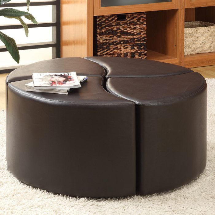 Red Leather Coffee Table Part - 22: Elegant Round Ottoman Table Gallery Round End Table Round Leather Ottoman Coffee  Table Modern Round Shoe