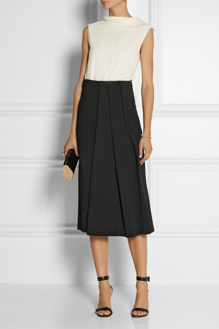 Victoria Beckham - Pleated stretch-jersey skirt