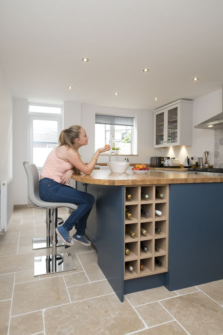 www.waringsathome.co.uk  Chalkhouse Interiors Shaker kitchen in Farrow and Ball Stiffkey Blue and Ammonite