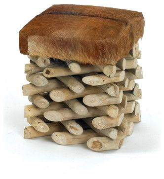 Log Cabin Stool - rustic - ottomans and cubes - by Indeed Decor